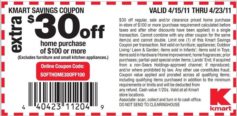 printable coupons 2011. Kmart Coupons 2011; In-Store