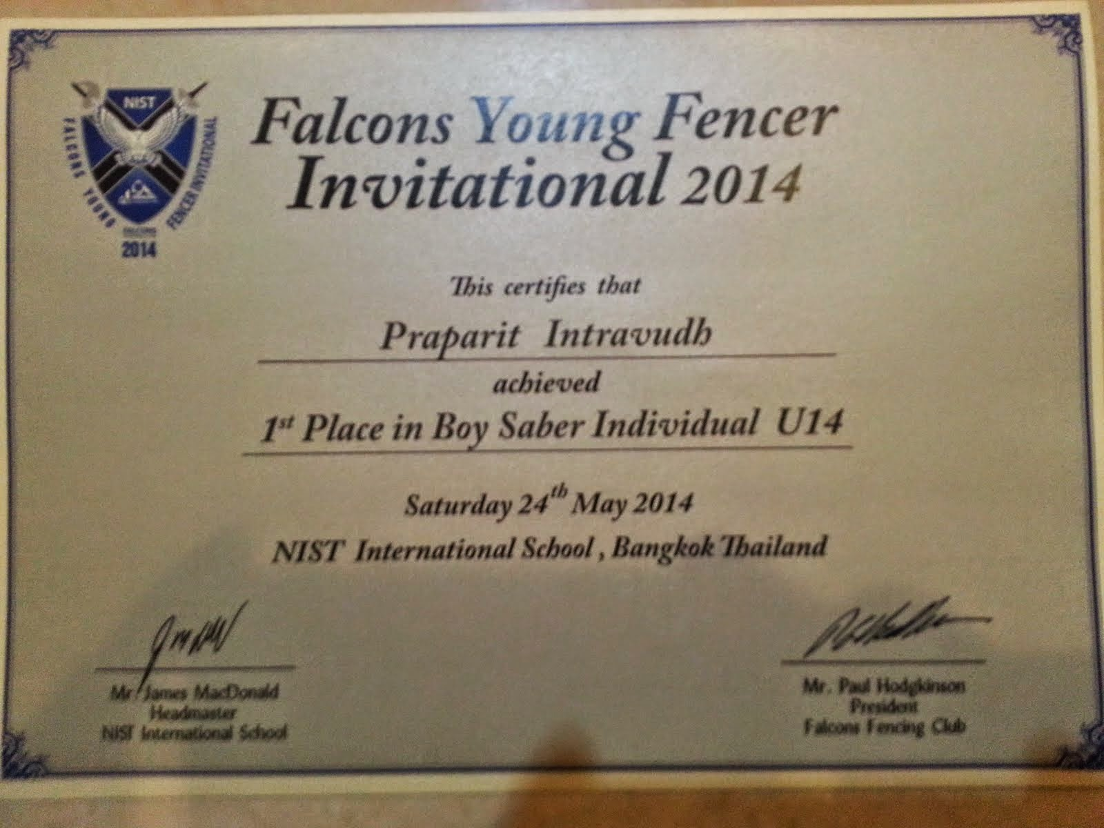 1st Place U-14 Falcon 2014