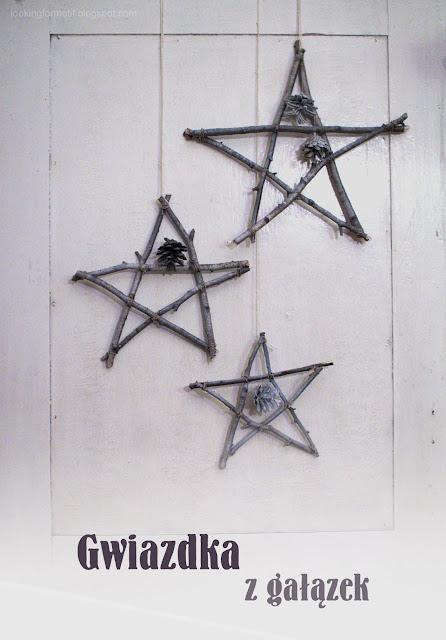 jak zrobić gwiazdki z sosnowych gałązek, świąteczne ozdoby,