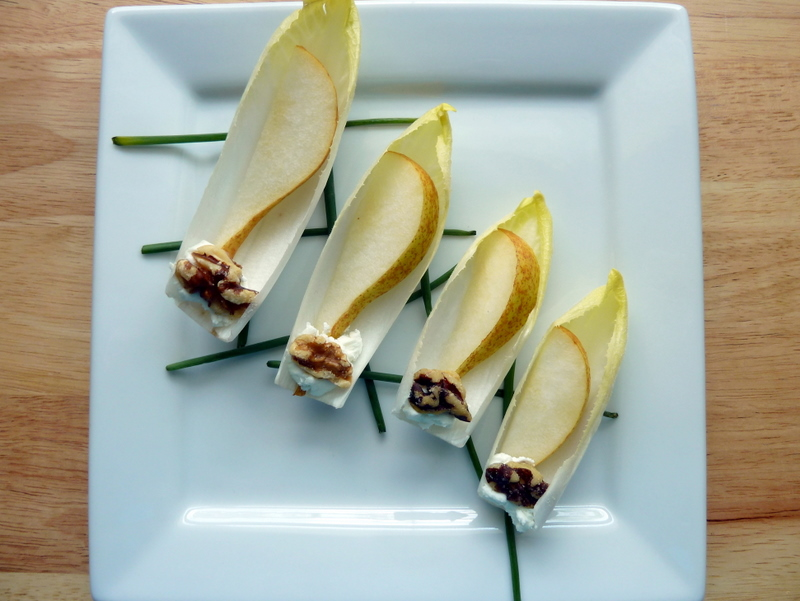 Pear, Walnut and Goat Cheese Stuffed Endives - Cookin' Cowgirl
