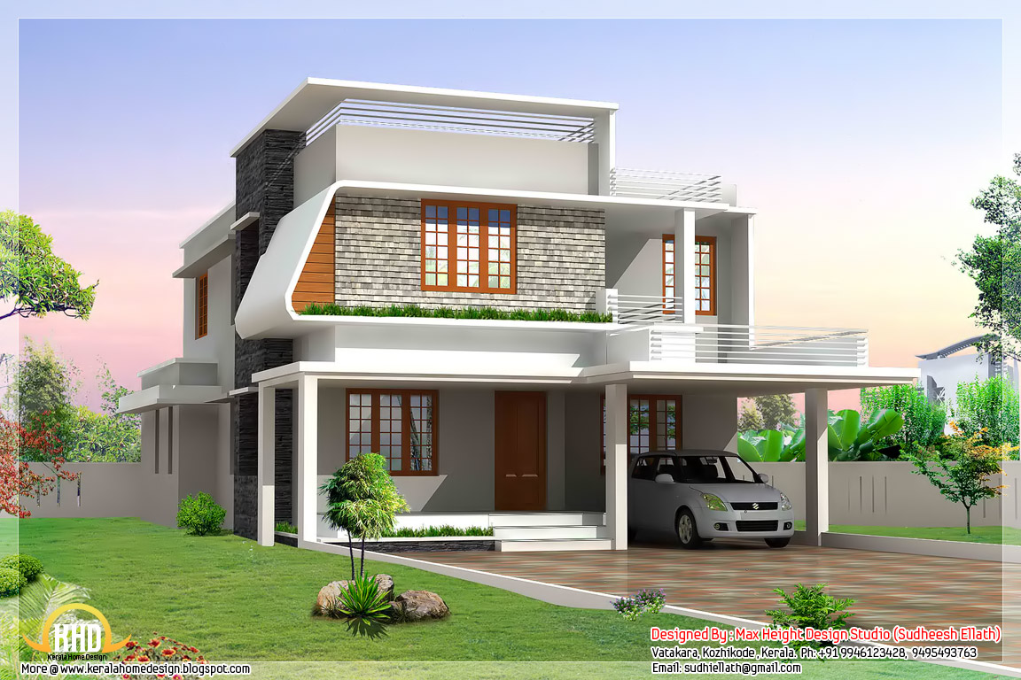 3 beautiful modern home elevations kerala home design for Modern indian house plans