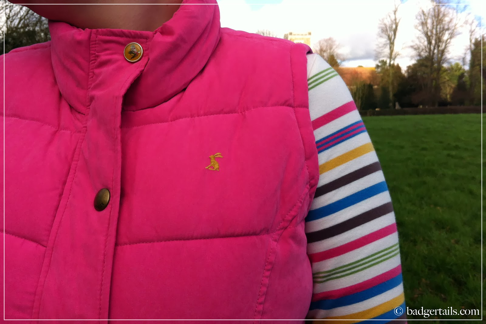 woman wearing pink joules gilet and stripy joules top in english countryside field