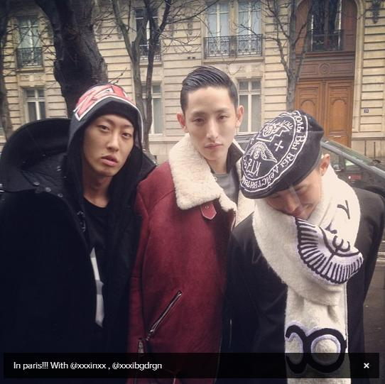 G-Dragon in Paris with & Yanggaeng Lee Soo Hyuk 130121
