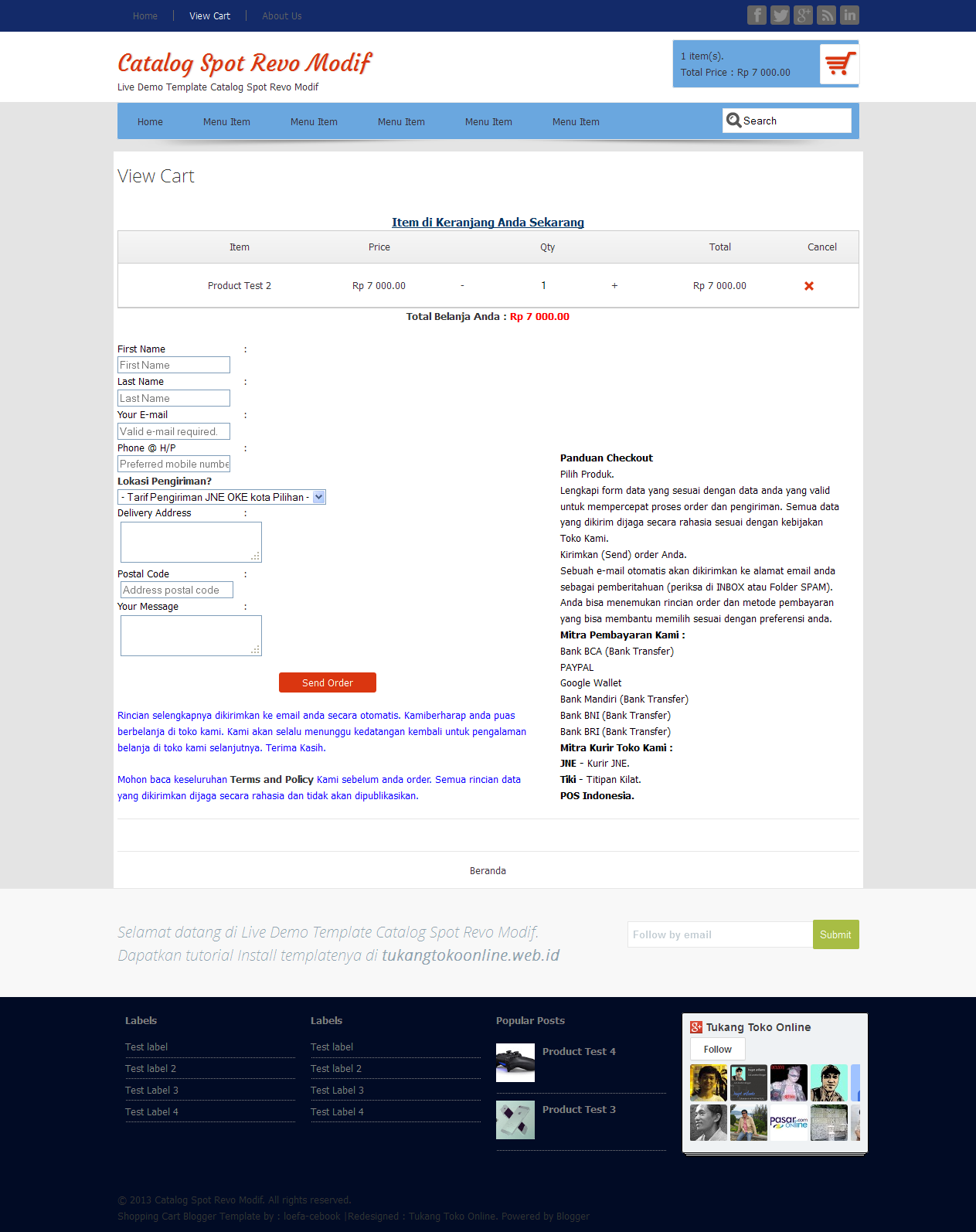 Template Catalogspot Revo Modif dengan Shopping Cart dan