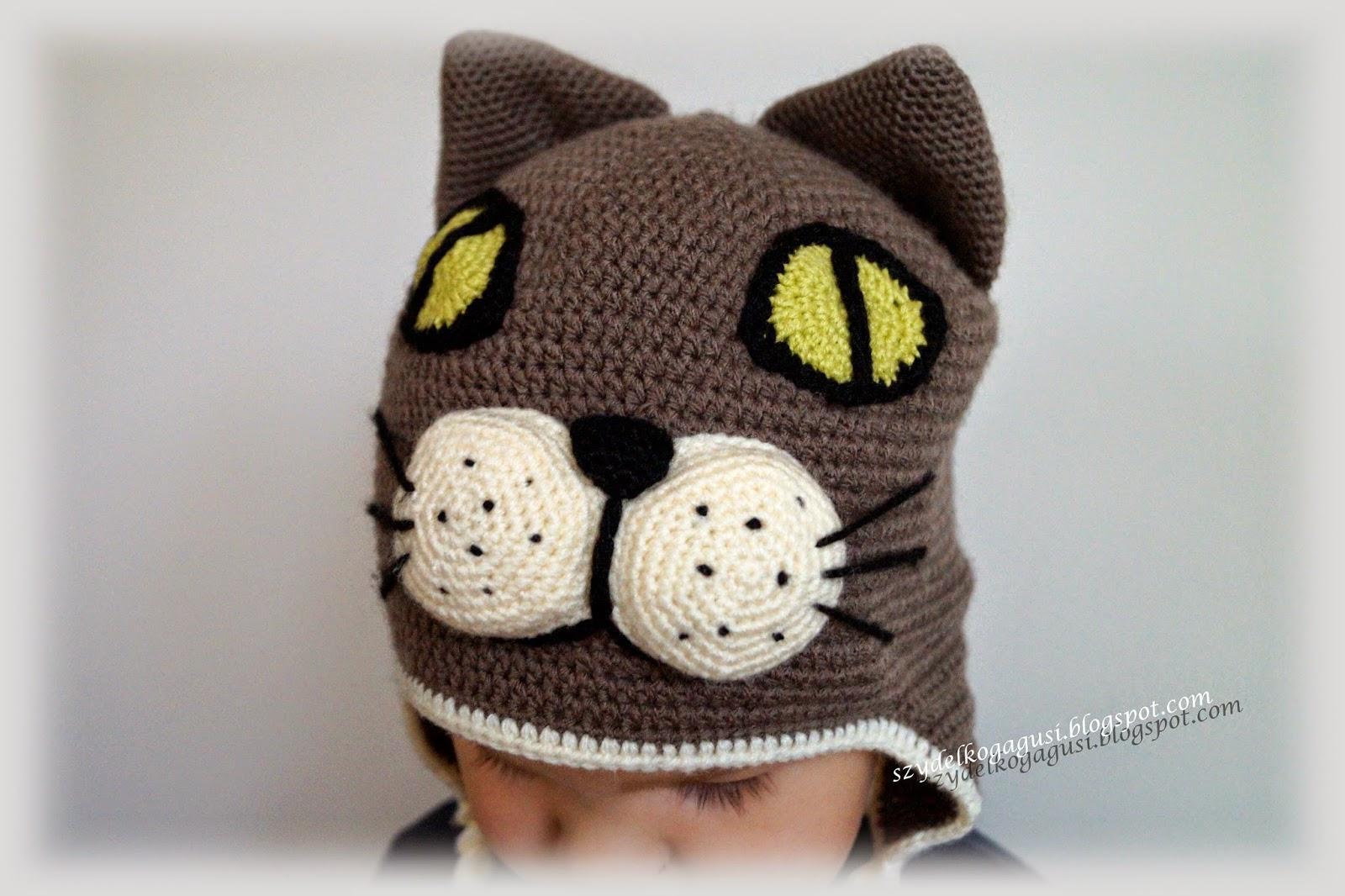 czapka kot na szydełku