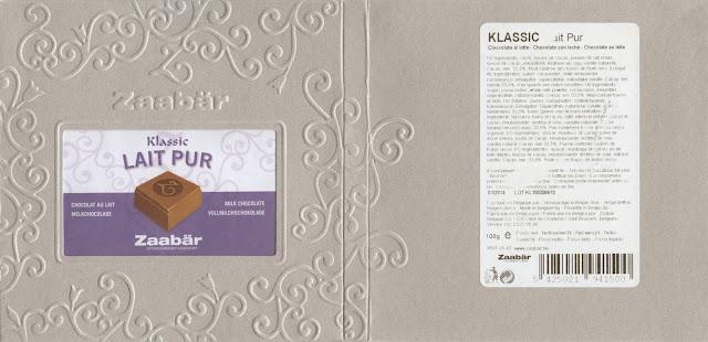 tablette de chocolat lait dégustation zaabär klassic lait pur
