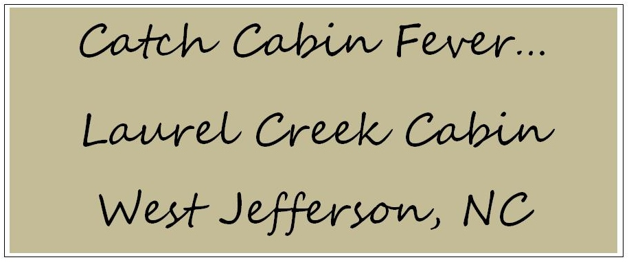 Catch Cabin Fever.....       Laurel Creek Cabin West Jefferson, NC