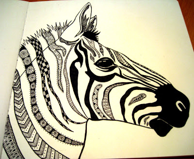 Black and white zebra line art