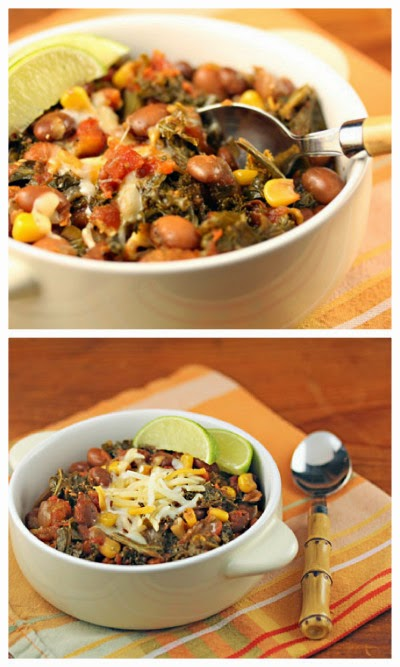 Slow Cooker Vegan Spicy Pinto Bean Chili with Corn and Kale from The Perfect Pantry found on SlowCookerFromScratch.com