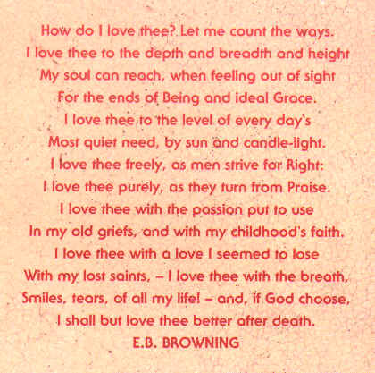 essay on how do i love thee Free i love thee papers, essays, and research papers  comparing how do i  love thee by elizabeth barrett browning and a brithday by christina rosetti.