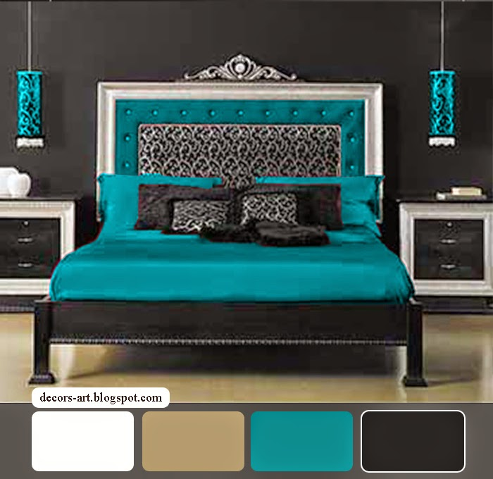 Bedroom decorating ideas turquoise decorsart for Black white and brown bedroom ideas