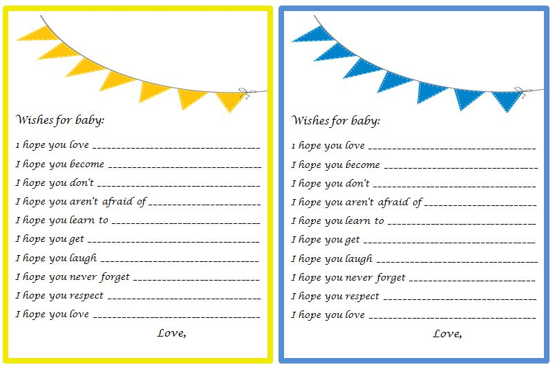 your own general baby wish cards to be used at your next baby event