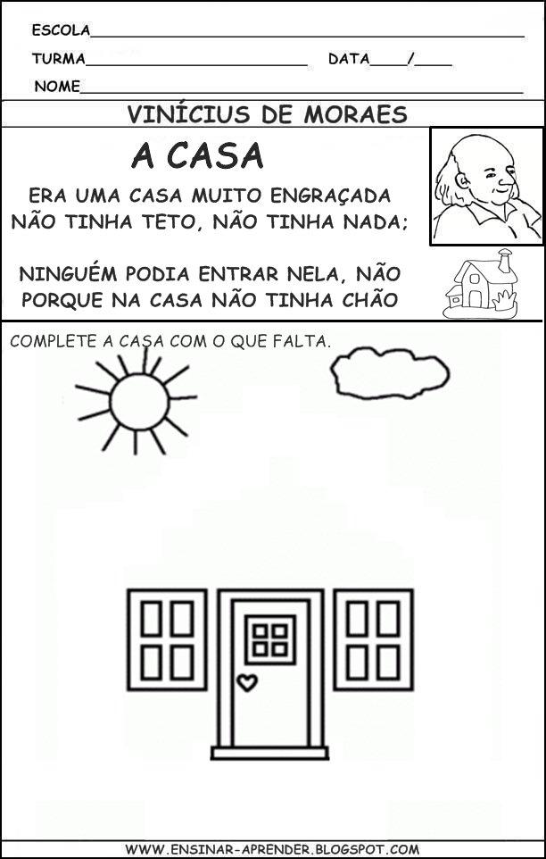 Atividade do poema a casa Vinícius de Moraes
