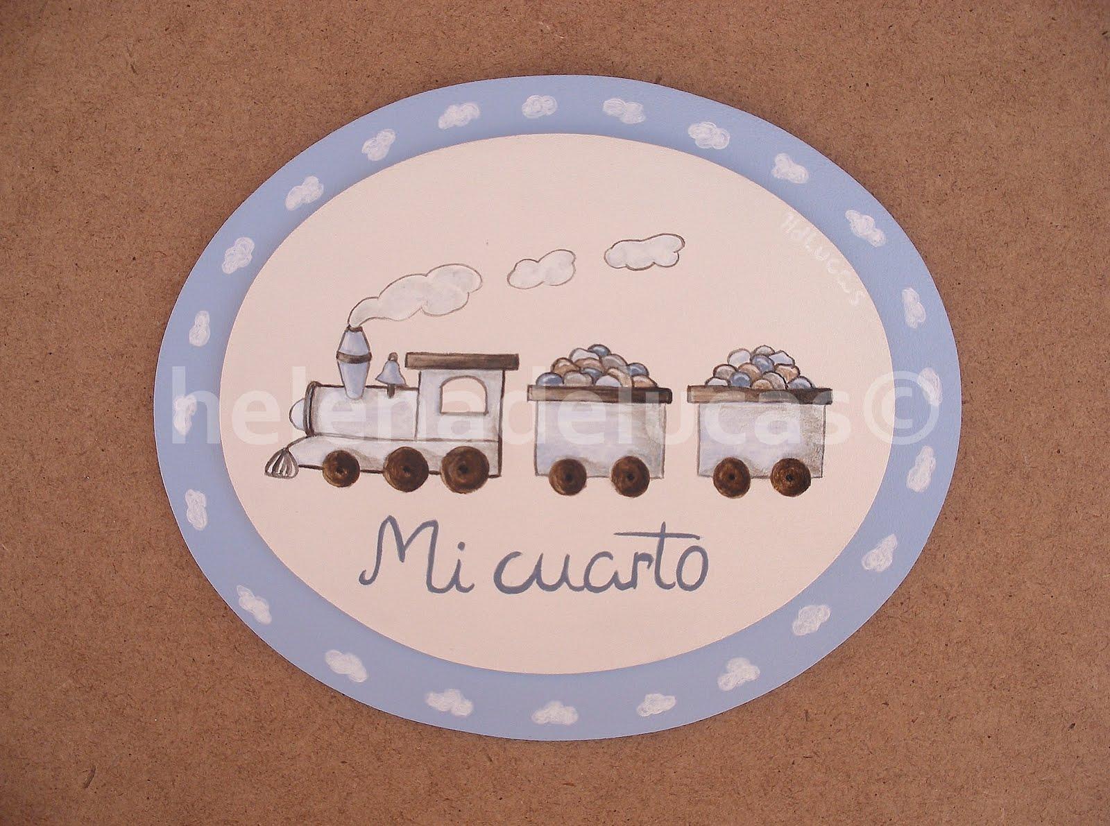 Helenadelucas placa de madera con tren - Placa de madera ...