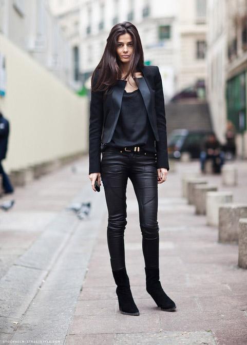 Mademoiselle Jolie Cuero Negro Los Pantalones De Piel