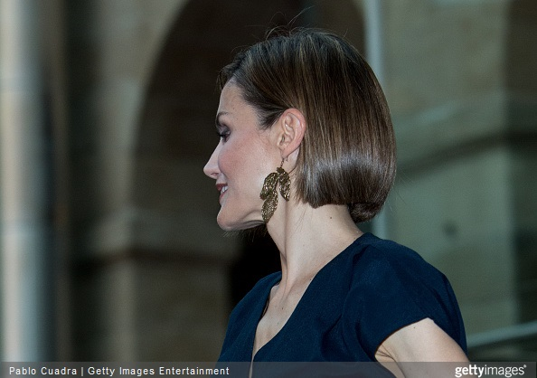 Queen Letizia of Spain, earring detail, attends the 'Barco de Vapor' and 'Gran Angular' awards ceremony