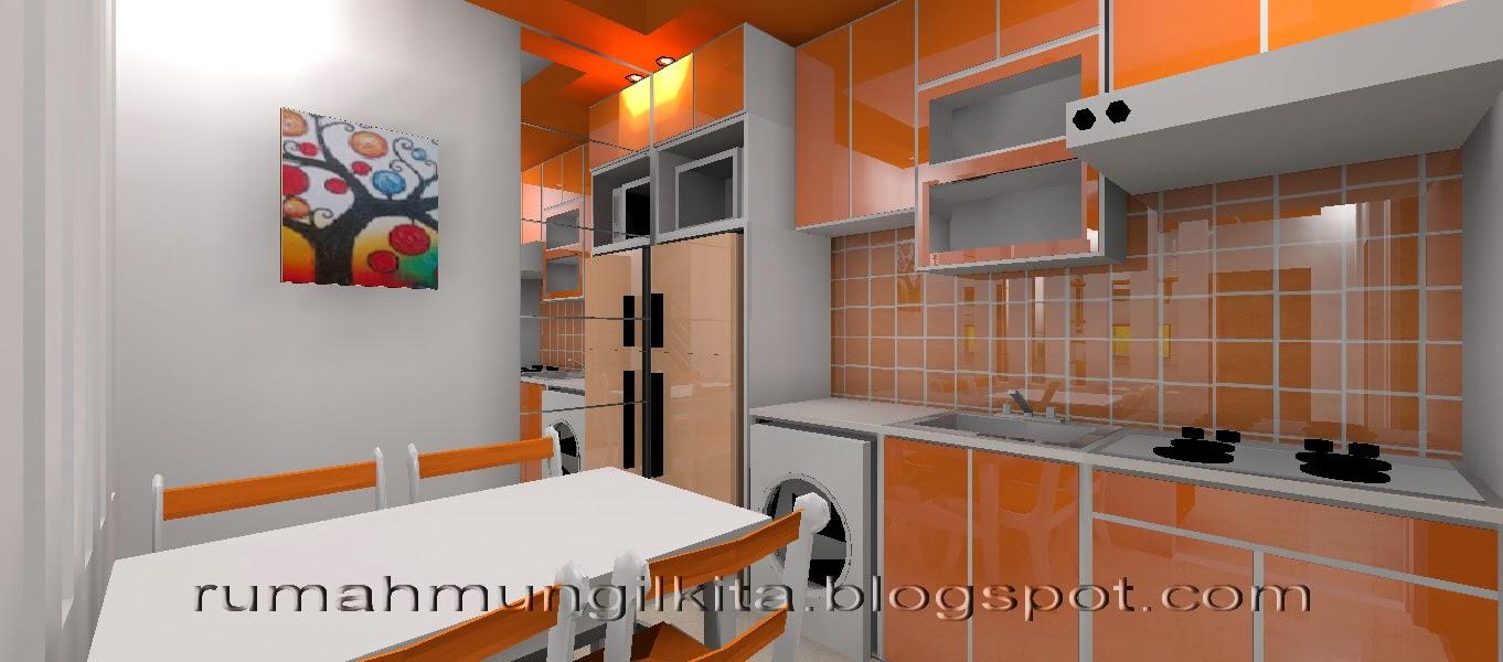 kitchen set oranye yang ceria dan energik