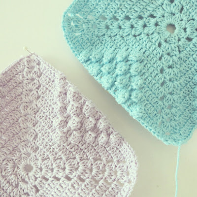 ByHaafner, crochet, potholders, pastel, Japanese crochet pattern, handmade, WIP, bobble stitch