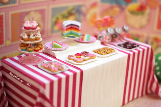 Birthday In Bright Pink Stripes Dessert Table
