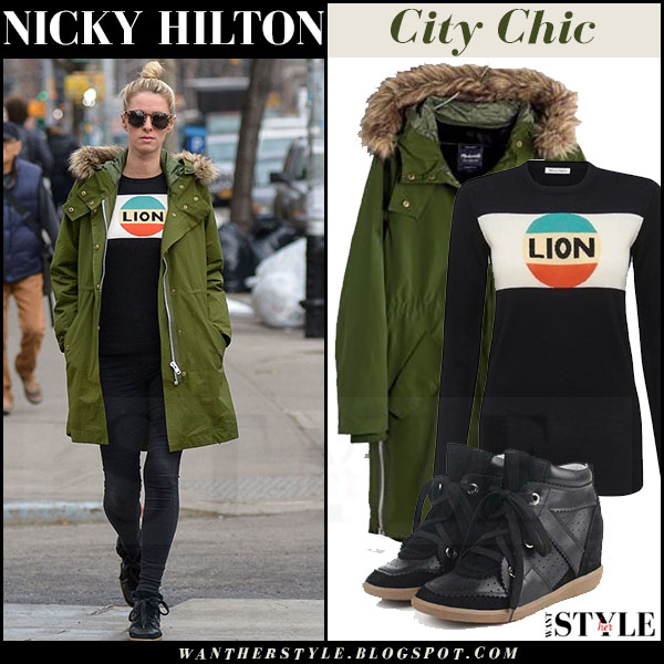 Nicky Hilton in olive green fur hood madewell parka and black jeans what she wore winter streetstyle