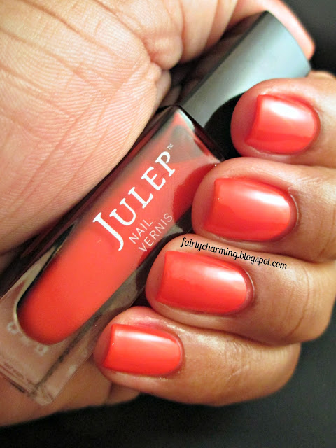 Julep Natasha, orange, red-orange, crelly, bright, swatch, Sundays Are For Swatching, nails, mani