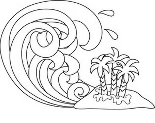 Waves coloring and paint color area for Waves coloring page