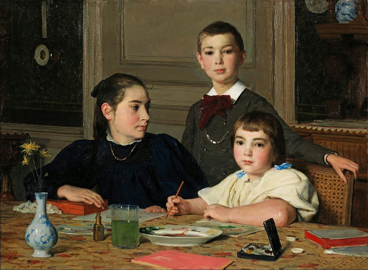 albert anker, group portrait,painting review