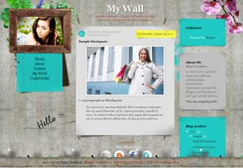 My Wall Diary blogger template. personal diary blogger template. free blogspot template