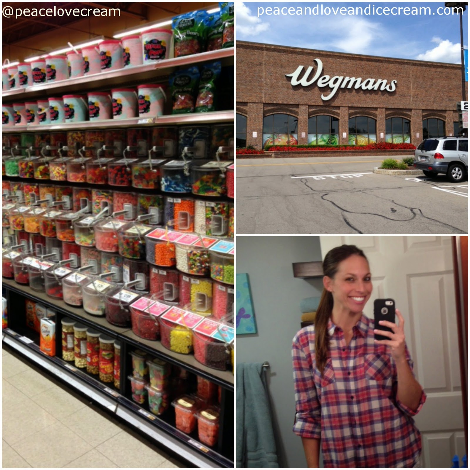 Wegmans. pick and mix. chocolate. plaid shirt. selfie.