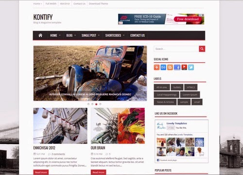 Kontify Magazine Blogger Template Responsive Theme Blogger