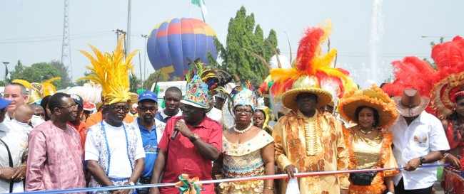 Calabar international carnival Acting Governor, Efiok Essien Cobham cut the ribbon to set the show alive