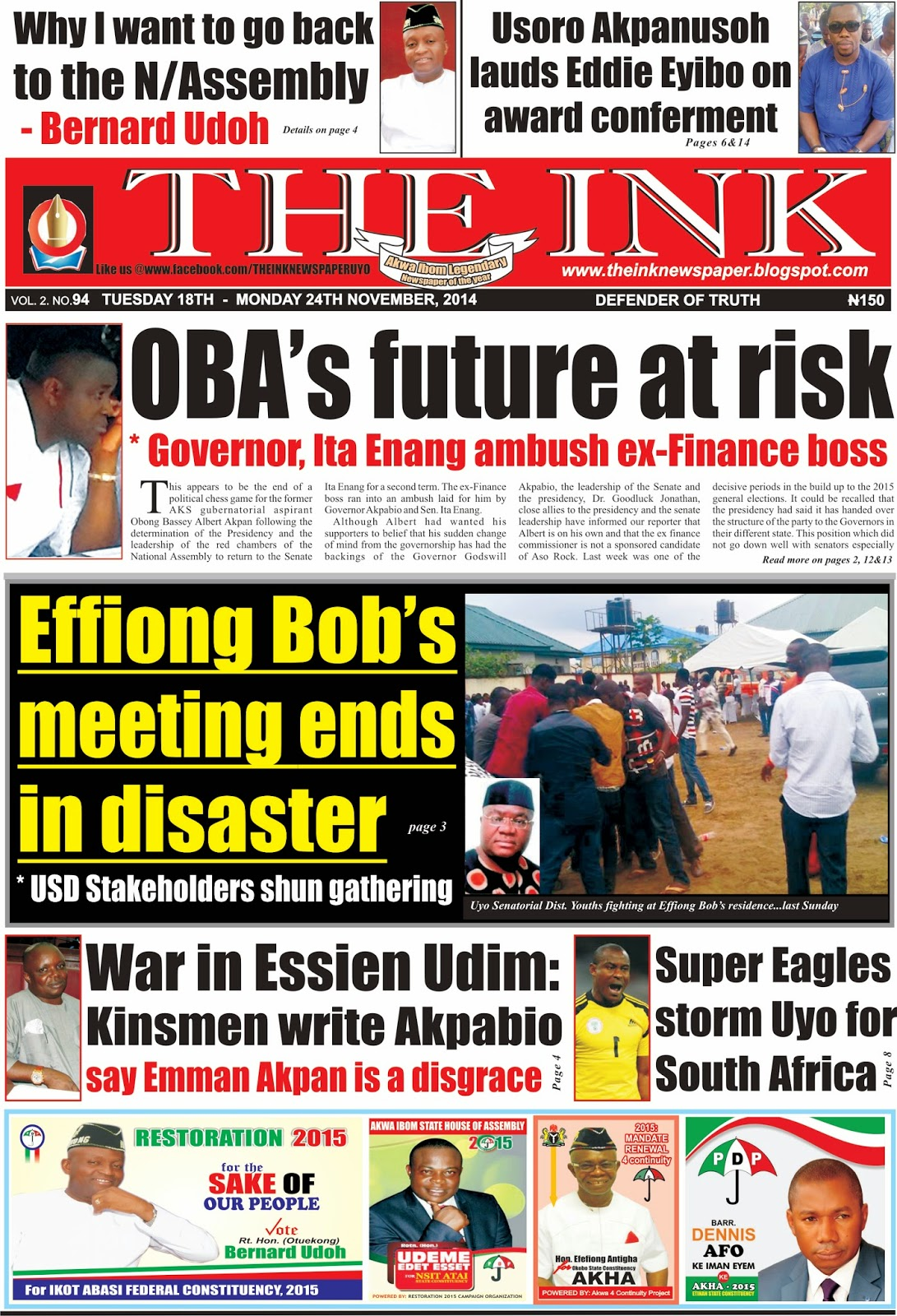 Latest Edition of THE INK NEWSAPER, Uyo, Akwa Ibom State