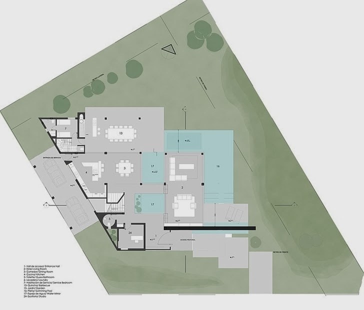 Site plan of Minimalist Casa Carrara by Andres Remy Architects