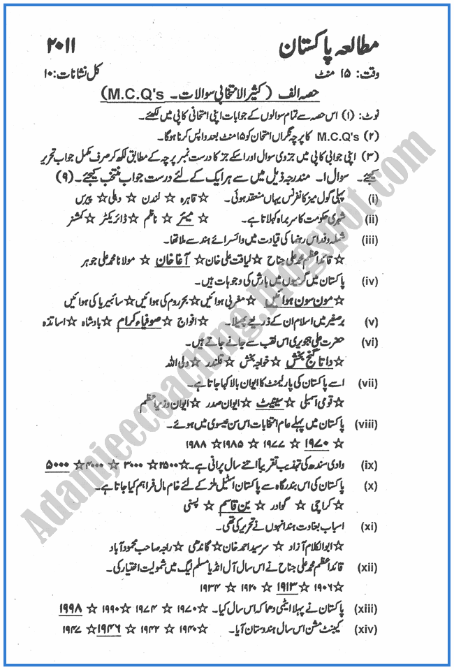 Pakistan-Studies-urdu-2011-past-year-paper-class-XII