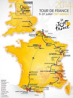 Mapa etapas Tour de France 2014