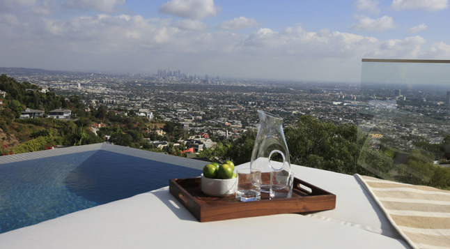Photo of downtown Los Angeles as seen from the area by the pool