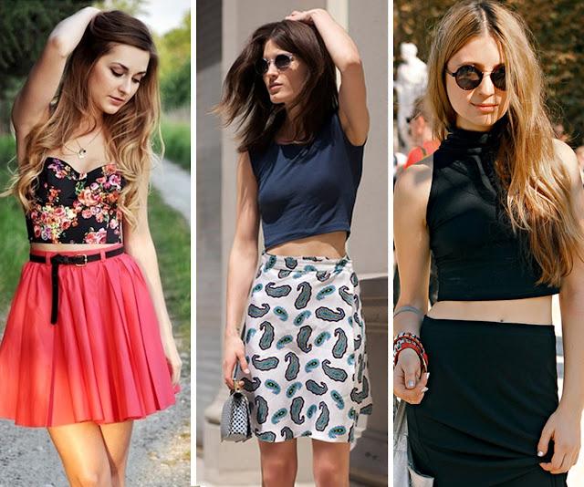 moda, tendência, crop, saia, mulher, fashion, feminino
