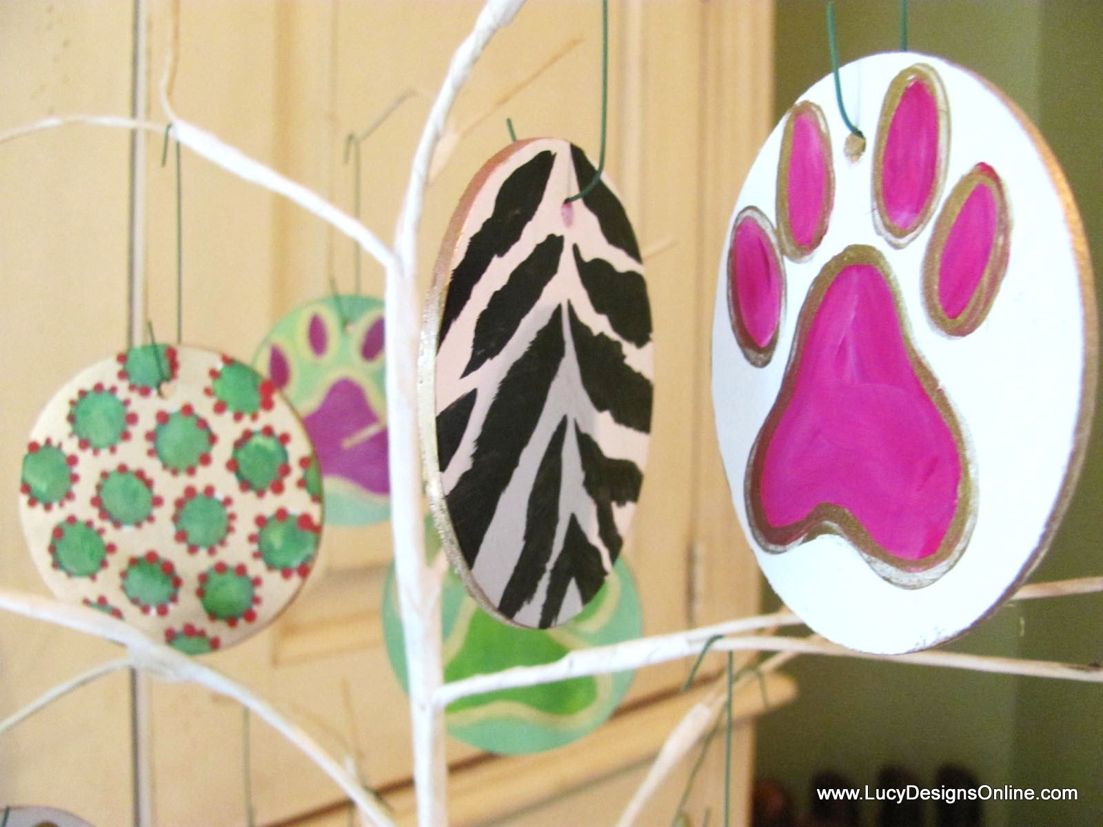 hand painted paw print dog ornaments