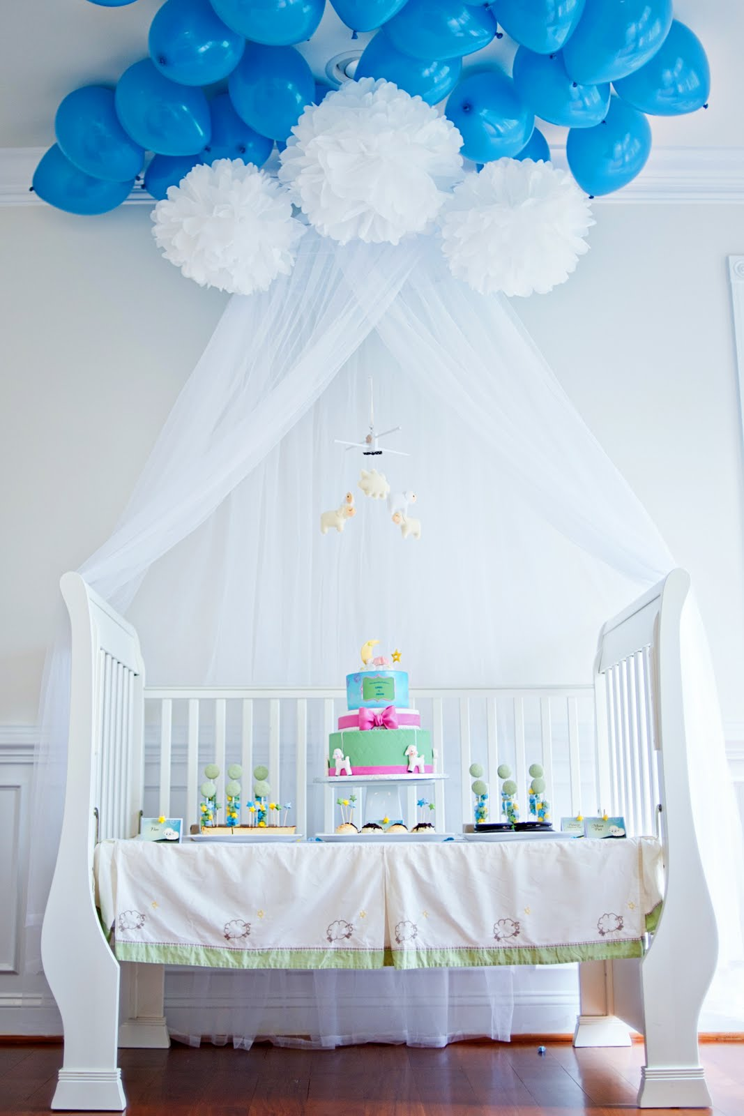 Pure joy events lullaby baby shower dessert table and for Baby crib decoration