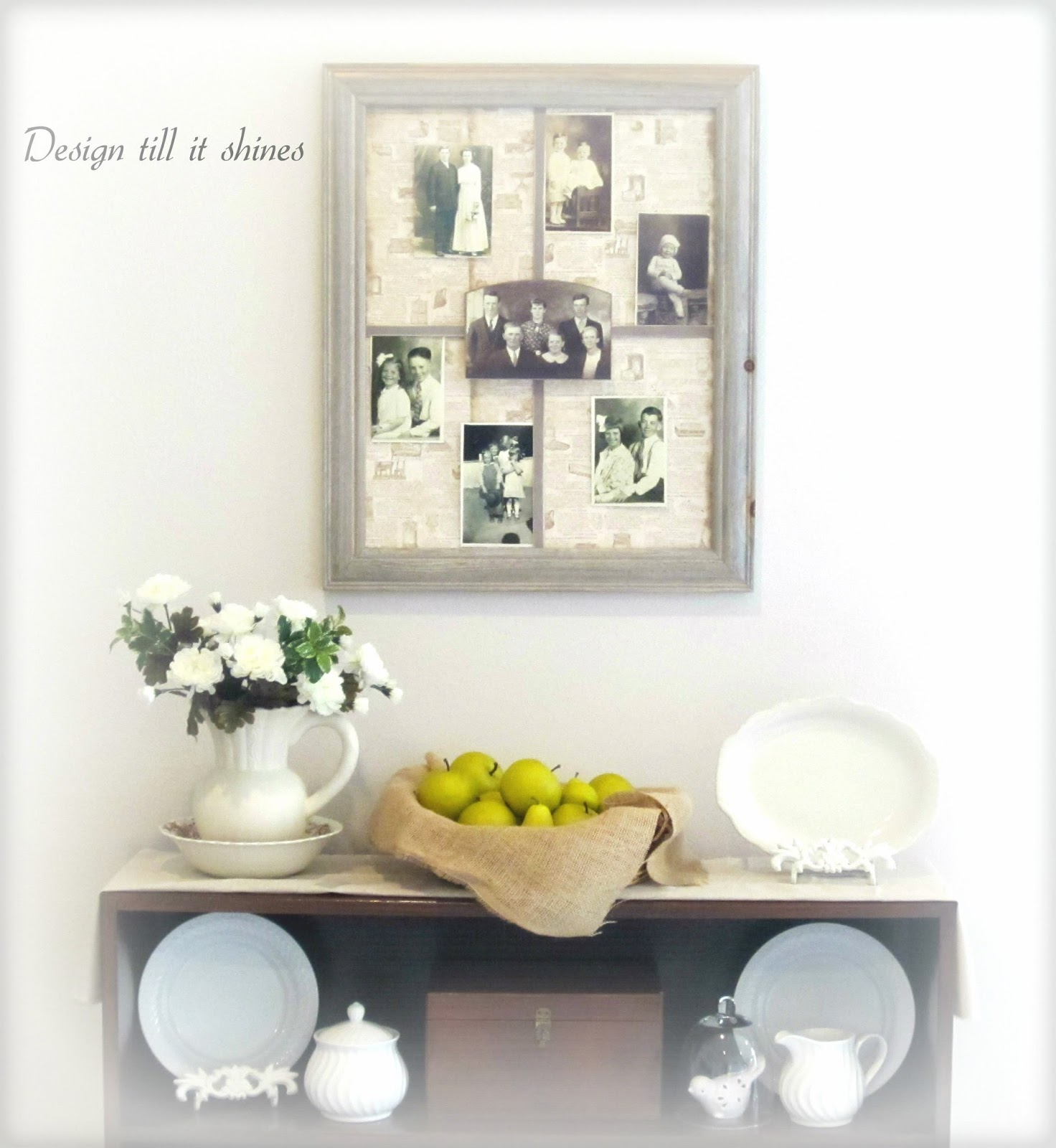 Design till it Shines: Barn wood frame & old family photos