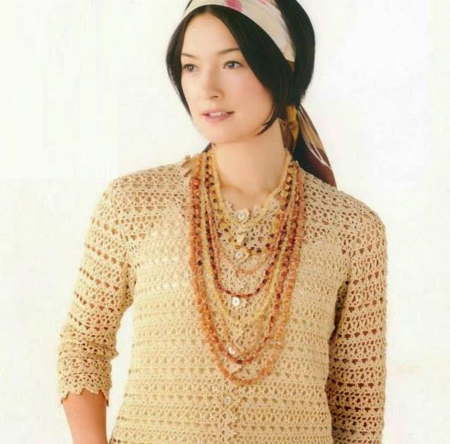 Blusa Beige a Crochet o Ganchillo