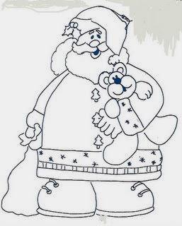 desenho papai noel com ursinho para pintar