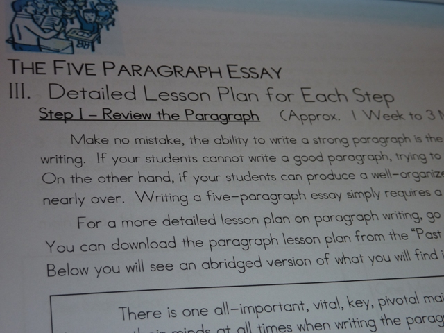 five paragraph essay lesson plans Lesson objective: given an essay question, students will be able to construct a thorough, organized, essay with five paragraphs, which include but are not limited to an opening paragraph.