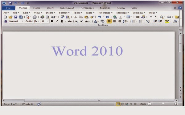 tampilan program ms word 2010