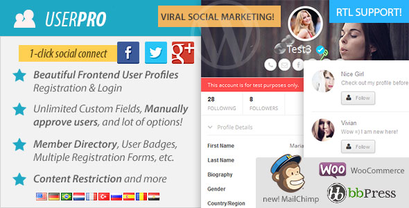 Free Download UserPro V2.43 User Profiles with Social Login WP Plugin