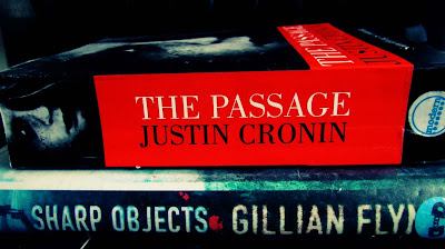 The Passage, Justin Cronin, Sharp Objects, Gillian Flynn, book stack, paperbacks, fireplace, reading
