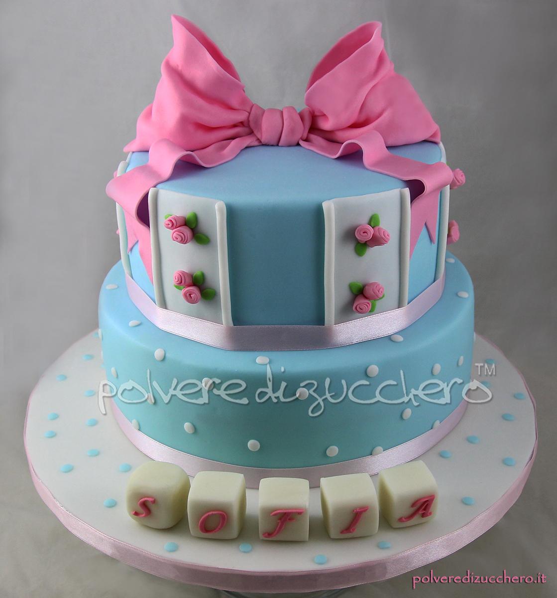 cake design pasta di zucchero polvere di zucchero battesimo bimba shabby chic azzurro rosa fiocco