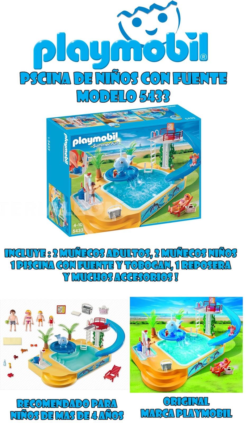 Jugueter a le n playmobil 5433 piscina de ni os con for Playmobil piscina con tobogan