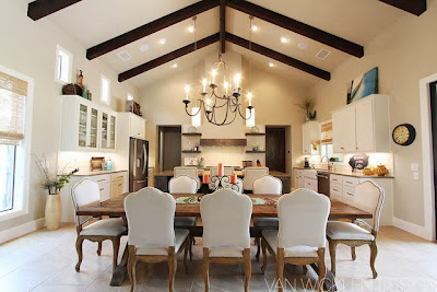 beautiful and striking kitchen and dining design with a mix of classic and modern style