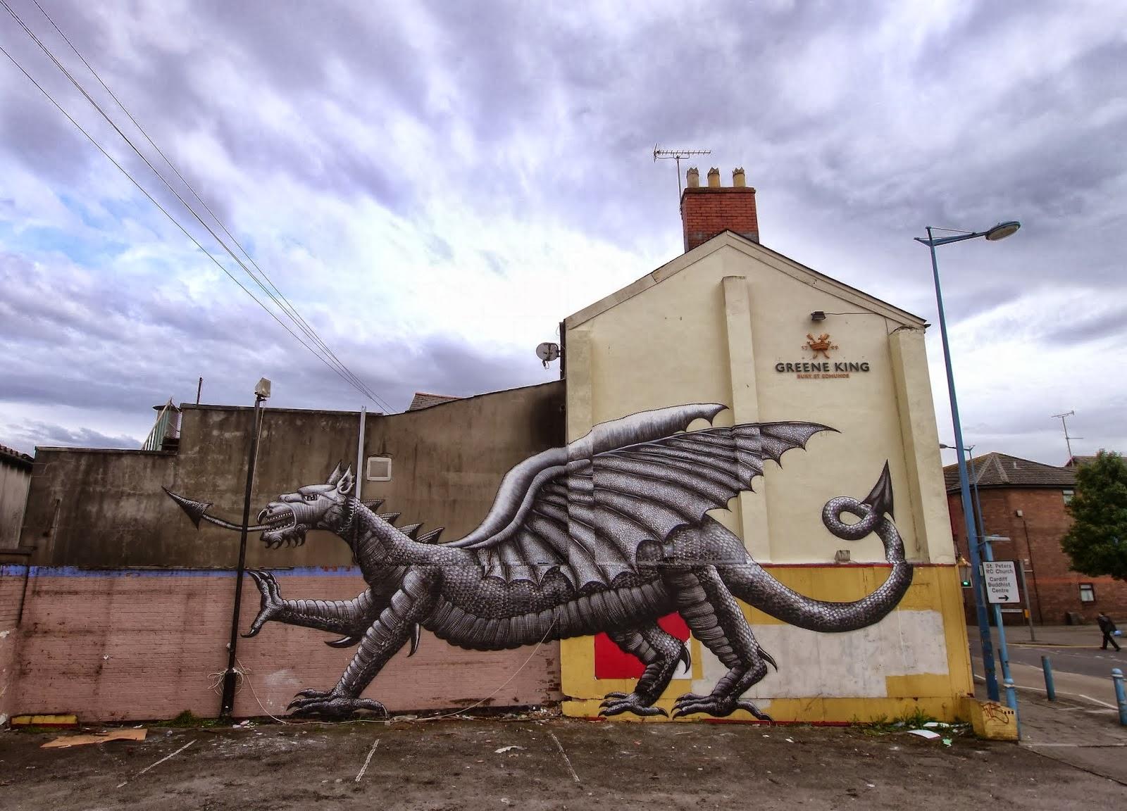 Cool Street Art By Phlegm For Empty Walls Urban Art Festival In Cardiff Wales